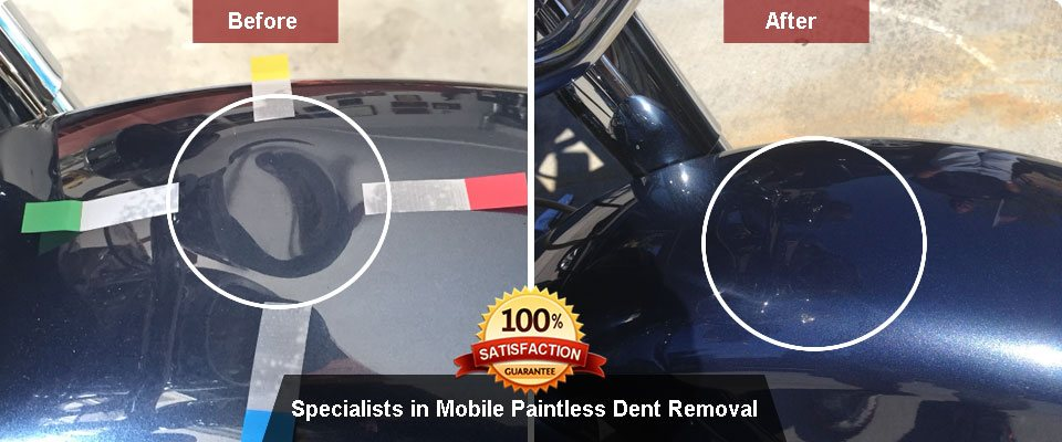Paintless dent repair before & after